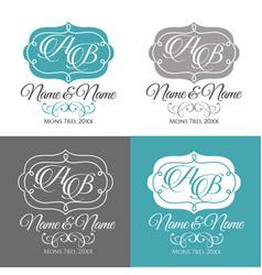 Wedding logo4 calligraphic ornament vector