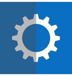 White gearwheel on blue background vector