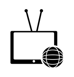 Tv with antenna icon vector