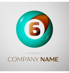 Number six logo symbol in the colorful circle on vector image