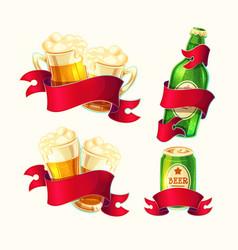 set of isolated cartoon beer vector image