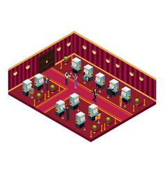 Isometric casino interior room template vector