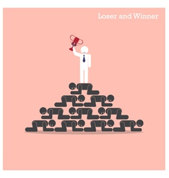 Winner walk over stairs of loser concept vector