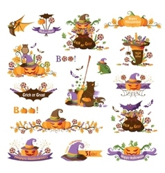 Set of halloween decorative elements vector