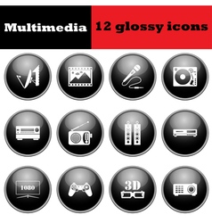 Set of multimedia glossy icons vector