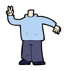 Comic cartoon body giving peace sign mix and match vector