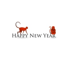 Chinese new year card with red monkeys vector