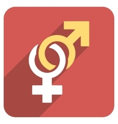 Sexual symbols flat rounded square icon with long vector