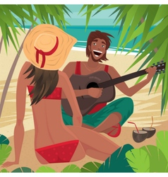 Guy playing the guitar for a girl on the beach vector