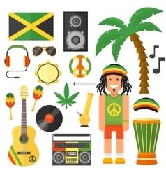 Reggae artist musical instrument and rastafarian vector image