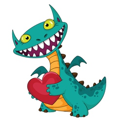 Laughing dragon and heart vector