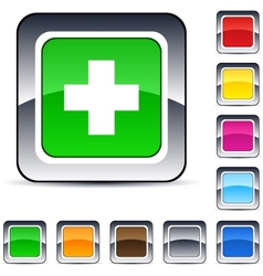 Plus square button vector image