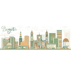 Abstract bogota skyline with color buildings vector