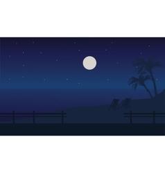 At night beach scenery summer holiday vector