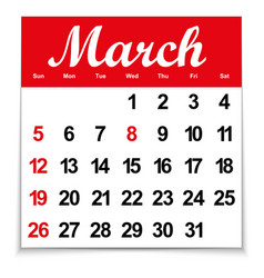 Calendar 2017 with the month of march days of the vector