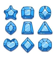 Cartoon blue different shapes gems vector image