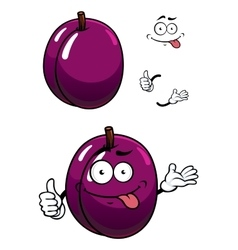 Cartoon purple plum fruit with thumb up vector