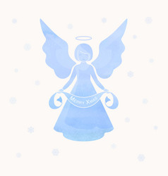 christmas angels and snowflakes vector image