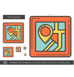 City map line icon vector
