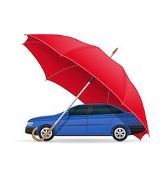 Concept car under umbrella vector