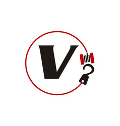 Crane hook towing letter v vector