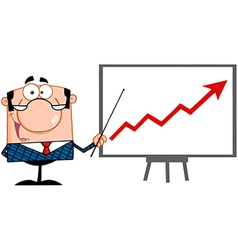 Economics teacher with graphs vector image vector image