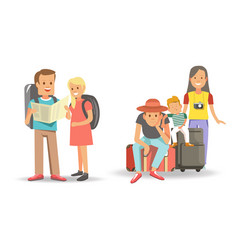 families that travel with children ready to go vector image