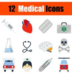 Flat design medical icon set vector image vector image