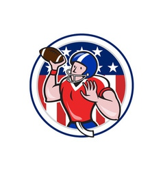 Football Quarterback Throwing Circle Cartoon vector image