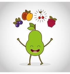 fresh fruit comic character vector image vector image