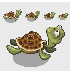Funny turtle with big eyes cute character or icon vector image
