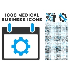 Gear options calendar day icon with 1000 medical vector