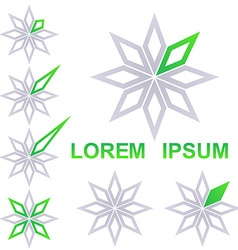 Grey and green star business icon design set vector image
