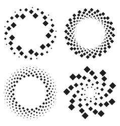 Halftone circles of diamonds twisted spiral vector