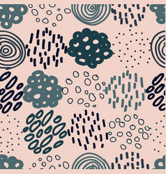 hand drawn circles and dots seamless vector image