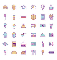 Icon set delicious fast food vector