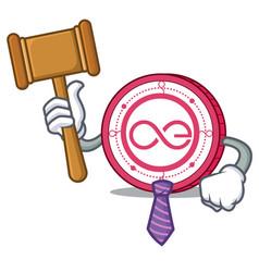 Judge aeternity coin mascot cartoon vector