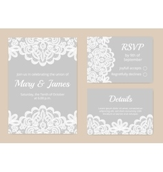 Lace cards for wedding vector