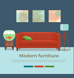 living room cozy interior with colorful sofa vector image vector image