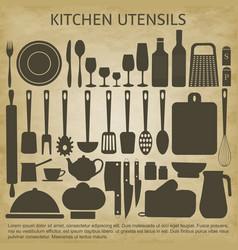 Logo kitchen icons set vector