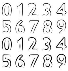 Minimal contour numbers font vector