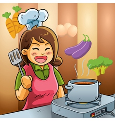 Mommy love cooking vector