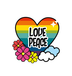 Nice hippie heart with flowers and cloud vector