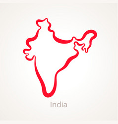 Outline map of india marked with red line vector
