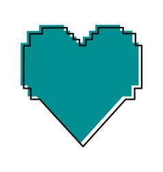 Pixel cartoon heart icon image vector