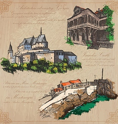 places and architecture - hand drawn pack vector image vector image