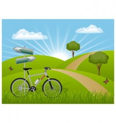 summer landscape with a bike vector image