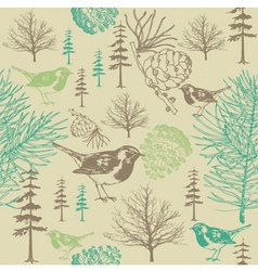 Vintage forest birds Pattern vector image