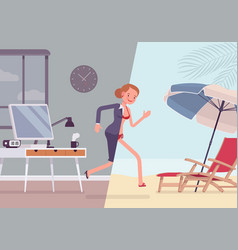 Woman leaps to vacation vector