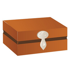 Wooden chest with silver trim and lock isolated vector